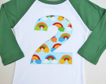 Ready to Ship, Girls Number 2 Tee, 2nd Birthday Shirt, Rainbow Party, Applique Raglan Tshirt, Size 2 2T, Primary Colors
