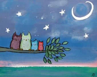 Nursery Art Print, Woodland Owl Nursery Decor, Children's Art, Kids Wall Art