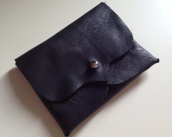 Black Leather Business/Debit Card Wallet or Just a Cute Pouch. Gunmetal Coloured Rivet Closure. Eco Friendly.
