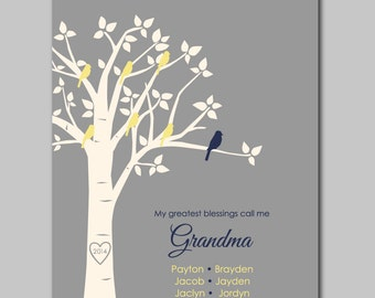 "My Greatest Blessings Call Me Grandma Mother's Day Gift for Grandma Family Tree Print Gift for Mom Birthday Gift from Grandchildren - 8""x10"""