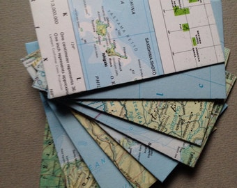"Mini Map Envelopes - World Atlas Map Envelopes - Size 2 1/8"" x 3 1/2"" - Open End/Coin Style-Upcycled Map Envelopes"