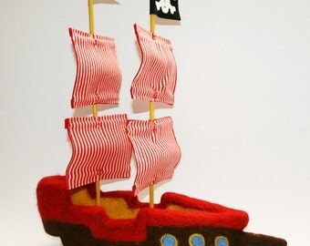Needle Felted Pirate Ship