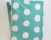 Large Dot in Aqua Toddler Duvet - Aqua and White Dot - Crib Duvet - Modern Baby - Preppy Baby