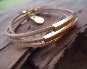 Leather, SQUARE BARS & SPIRAL wrap bracelet (654)