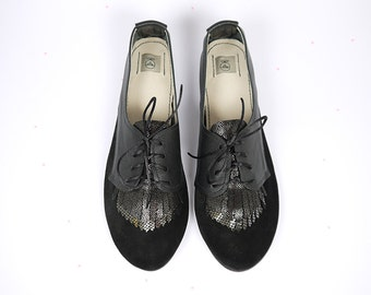 Fringed Oxfords Shoes Handmade Black Leather Laced Shoes