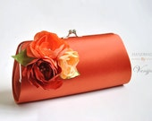 Burnt orange clutch with shades of orange flowers - Fall wedding - Bridal Clutch / Bridesmaid clutch / Prom clutch / Cocktail Clutch