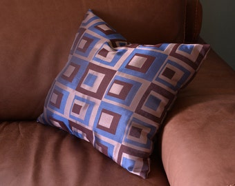 PILLOW-with filling- Funky Blue Brown and Gray squares - 16 by 16