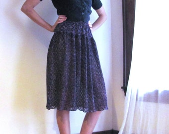 Sheer Abergine Floral Skirt / 1970s does the 1940s
