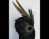 Irridescent Feather Mask Accented by Peacock Eye and Ring Neck Pheasant 9