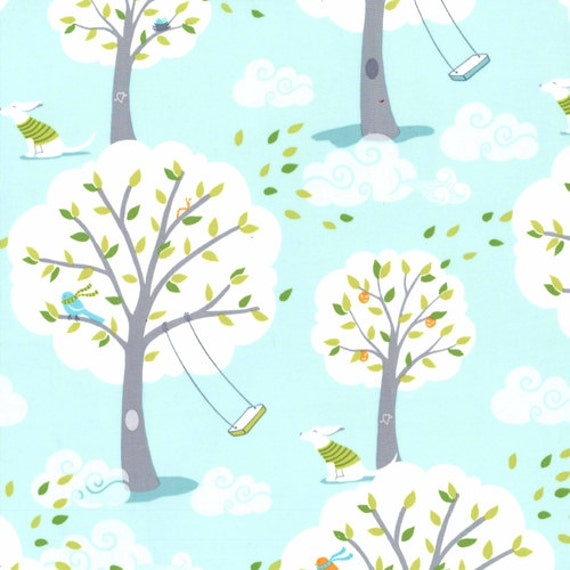 Michael Miller Backyard Baby Fabric Windy Day In Blue Ps