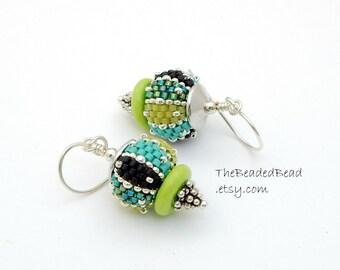 Pagoda Earrings - Beaded Beads by Sharri Moroshok - turquoise aqua lime green
