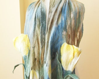 Wool Felted scarf,  beautiful  colors  3 D Flowers Art to wear lace cobweb wrap Tulips garden