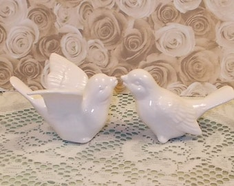 "Love Birds Wedding Cake Topper   -   ""Classic White"" glaze"