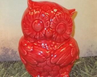 Red Ceramic Owl Figurine   -   Cranberry Red