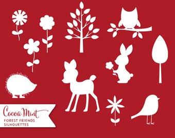 Forest Friends Silhouettes Clip Art