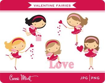 Valentine Fairies Clip Art