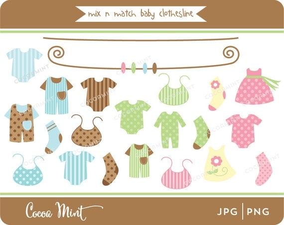 Mix N Match Baby Clothesline Clip Art
