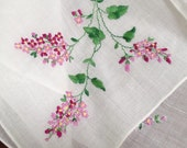 Fabulous Pink Lilac Bush Flower Embroidered Hanky Handkerchief - vintage hanky, retro hanky,embroidered hanky,pink embroidered floral hanky
