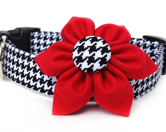 Houndstooth Dog Collar & Flower / Black White Dog Collar / Dog Collar Flower / Red Flower Dog Collar / Collar with Red Bow / Girl Dog Collar