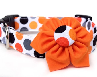 Fall Dog Collar with Flower / Polka Dot Dog Collar / Halloween Dog Collar / Thanksgiving dog collar / Orange Black Polka Dot Dog Collar