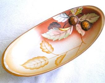 Nut Bowl Leaf Dish Orange Brown Serving Bowl Collectible Entertaining Vintage Woodland Estate find