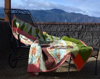 Quilted Throw/Wallhanging, Seminole Floral, modern, orange, brown, blue, pink