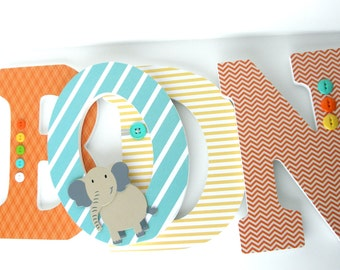 Custom Hanging Wall Letters for Nursery - Orange, Yellow, and Teal Turquoise - Name Wall Décor