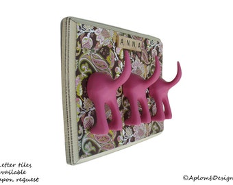 Leash Holder - Triple Tail -  Perfectly Pink Paisley - Personalize with Optional Letter Tiles