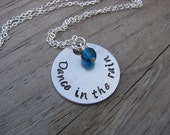 """Hand-Stamped Inspiration Necklace- """"Dance in the rain"""" with an accent bead in your choice of colors"""