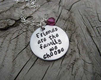 """Best Friend Necklace, Hand-stamped Necklace """"Friends are the family we choose"""" with an accent bead in your choice of colors"""