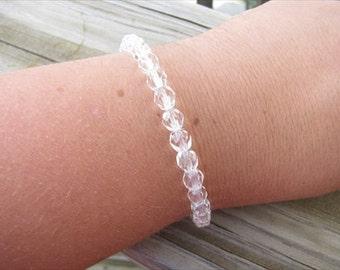 Layering Bracelet- Clear Beaded Bracelet
