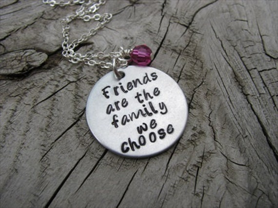 "Best Friend Necklace, Hand-stamped Necklace ""Friends are the family we choose"" with an accent bead in your choice of colors"