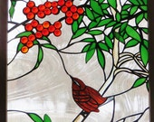 Stained Glass Window Art Nature Panel Wildlife Wren and Berries Birds Trees Fruit Interior Design Home Decor