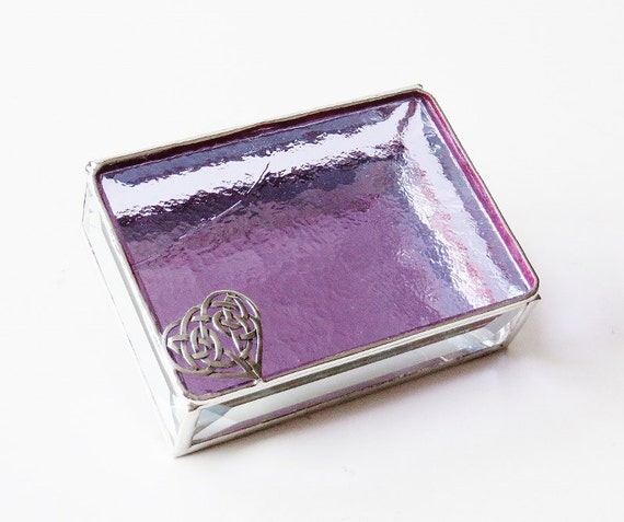 Stained Glass Jewelry Box Lavender Purple 3x4 Celtic Heart