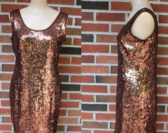Vintage 80s Silk Bronze Gold Sequin Dress