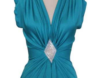 80s Sexy Teal Evening Dress Size S