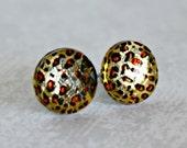 Titanium Post Earrings, Leopard print jewel, 12 mm, Hypoallergenic