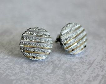 Titanium Post Earrings, Silver-tone Stripe, Hypoallergenic