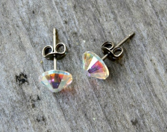 Titanium Earrings, Crystal AB Swarovski Crystal, Hypoallergenic