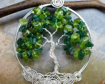 Tree of Life Necklace - Peridot/Dark Jade Tree of Life Pendant, May & August Birthstone Tree of Life Pendant Necklace, TLN-PERDJAD-SSSW