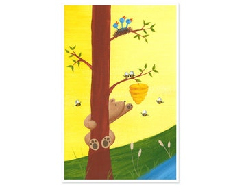 11x17 Honey Bear Large Print - Bear & Bees Poster