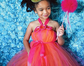 Pink and Orange Tutu Dress by Atutudes - birthday party dress