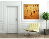 "The Painter's Tools, Original Painting,  Artist Brushes, Amber, Fun Wall Art, 36""x36"", Free shipping in USA."