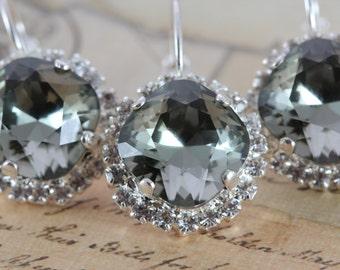 Gray Wedding Earrings Bridesmaids Earrings Wedding Jewelry Silver Set of 8 Pairs Black Diamond Swarovski Crystal Earrings