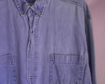 Cotton Denim button front Shirt, Size Large