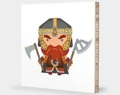 G for Gimli or D for Dwarf : ABC Block Bamboo Wall Art Series // Alphabet Kids Baby Nursery Room Decor LoTR