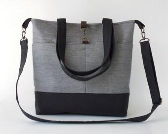 ONLY 1 LEFT. NAVY. Navy Stripe Denim Tote / Shoulder Bag / school bag / Diaper bag, with detachable strap.  Design by BagyBags