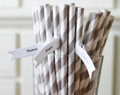 100 Gray Paper Straws, Grey Paper Straws, Striped paper Straws, Made in the USA, Paper Goods, Wedding, baby Shower, Decorations
