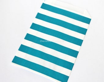 Favor Bags, Rugby Stripe Wedding Favors, 20 Teal Stripe Candy Buffet Bags, Baby Shower, Aqua Green Gift Bags, Favors Kids Party Popcorn Bags