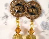 Vintage Button Earrings, Reclaimed, Upcycled, Antique, Collectible, 1890s, Gold, Glass, Jet, Black, OOAK, Jennifer Jones, Pierced - Trolley
